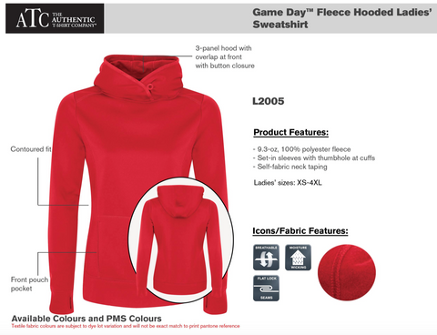 ATC Dry Fit Performance Hoodie with Screen Print - Red