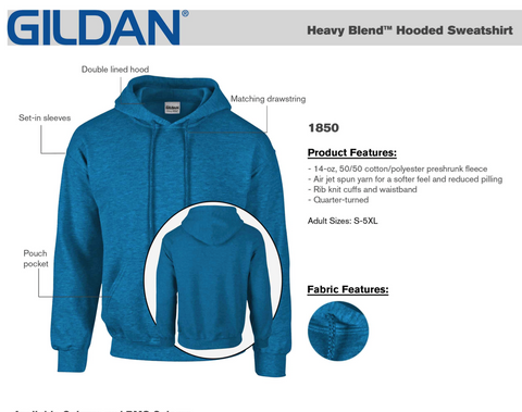 Gildan Cotton Hoodie - Embroidered Logo Left Chest