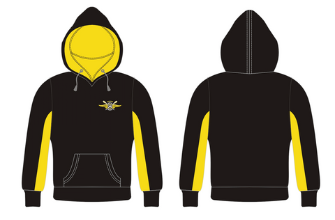 Black/Yellow Dry Fit Hoodie with Embroidery