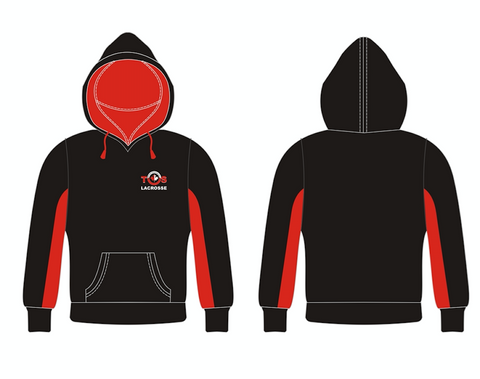 Black/Red Dry Fit Hoodie with Embroidery