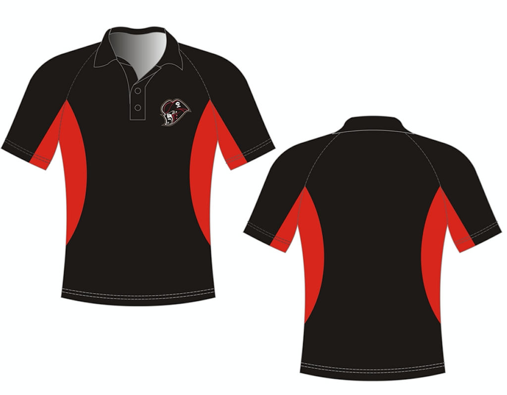 Custom Embroidered Black/Red Performance Golf Shirt