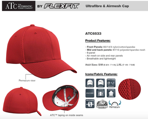 ATC/Flexfit Airmesh Hat With Embroidery - Red