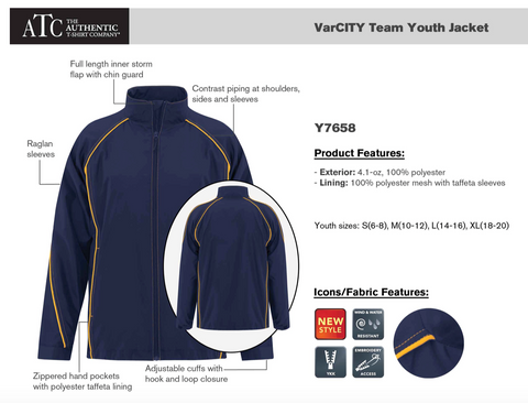 ATC Youth Varsity Team Jacket With Left Chest Embroidery