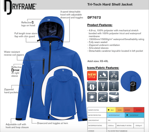 Dry Frame Hooded Outdoor Waterproof Performance Jacket - Embroidery