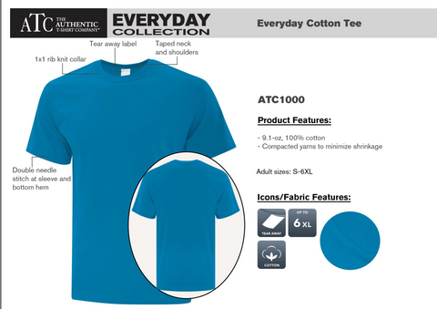 Blue ATC Cotton T-Shirt - With Screen Print