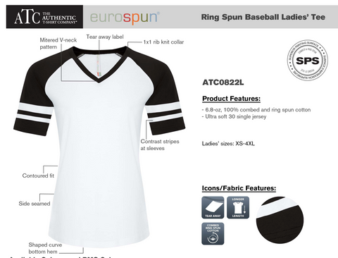 ATC Euro spun Baseball Ladies Tee , with screen print