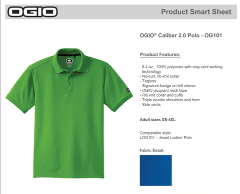 Ogio Caliber 2.0 Polo OG101 - Left Chest Embroidery