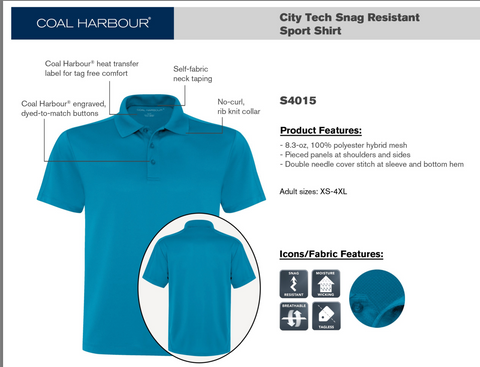 Coal Harbour City Tech Sport Shirt - Left Chest Embroidery