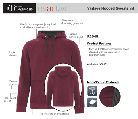 ATC ESACTIVE Vintage Hooded Sweater - With Screen Print
