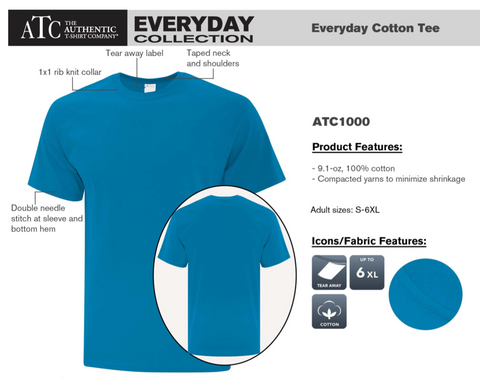 ATC Every Day Cotton Tee - With Screen Print - Heather Grey