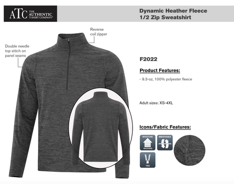 ATC™ DYNAMIC HEATHER FLEECE 1/2 ZIP Wth Embroidery