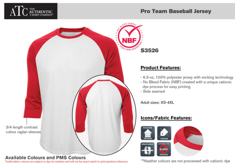 Pro Team Baseball Style Shirt - with screen print
