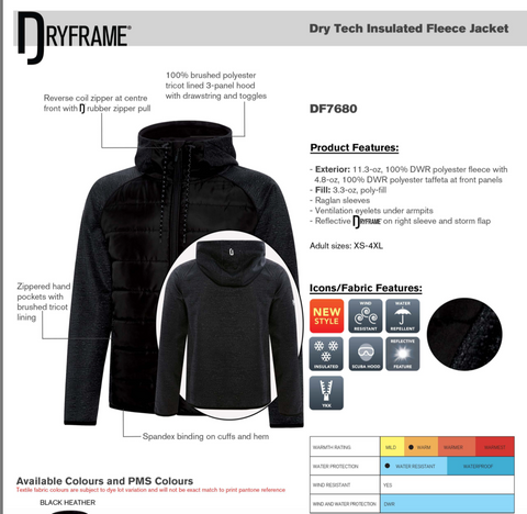 Dry Frame - Dry Tech Insulated Fleece Jacket