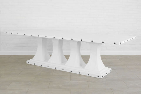 Camden Pedestal Rectangle Table, White