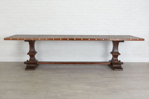 Somerset Trestle Rectangle Table, Saddle