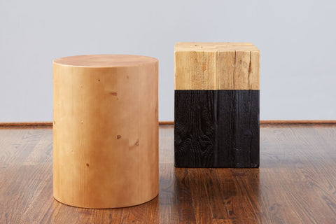 Mod Block Square Stool, Natural/Black