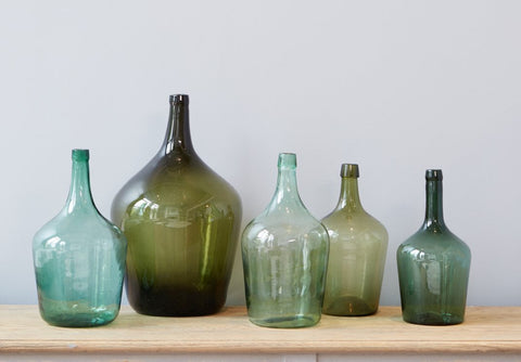 Green Found Glass Demijohn, Medium