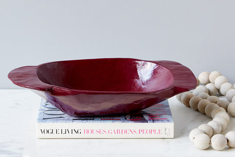 Vintage Small Dough Bowl, Merlot