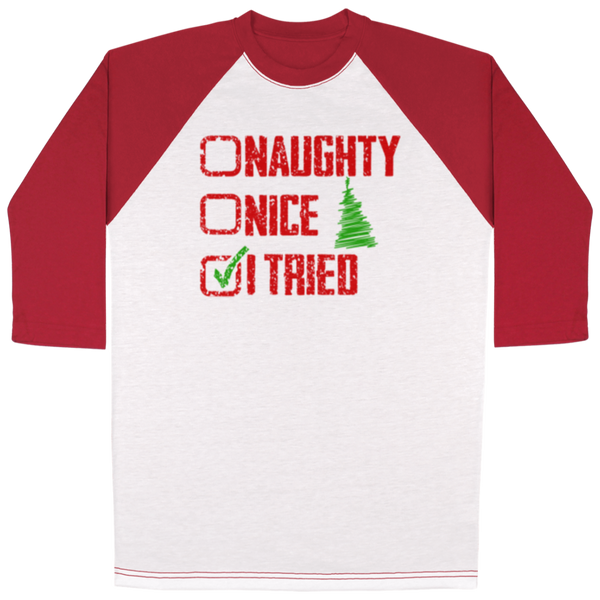 Naughty Nice All Over Print 3/4 Sleeve Raglan