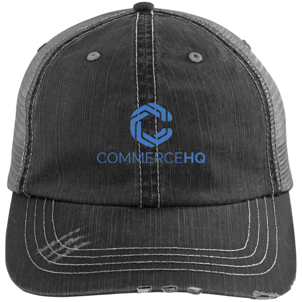 chq logo blue 6990 Distressed Unstructured Trucker Cap