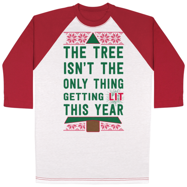 NEW Tree Getting Lit All Over Print 3/4 Sleeve Raglan