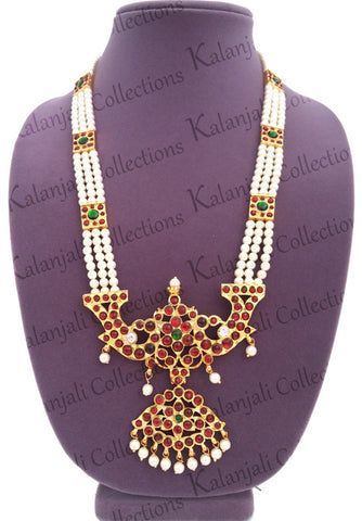 This long neckalce/haaram is suitable for Bharatanatyam as well as Kuchipudi dance