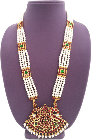 Temple Design Pearl Long Necklace 4 Lines-LN2014