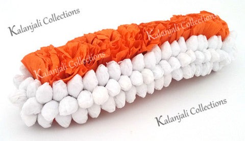 Jasmine Paper Flower Band 3 Row White and Orange