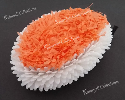 Plastic White and Orange Oval Flower Band