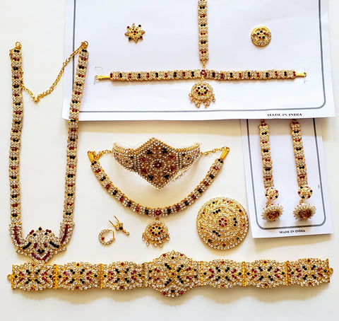 Multi Color Stones Dance Jewelry Set Kuchipudi Bharatanatyam STNSET812