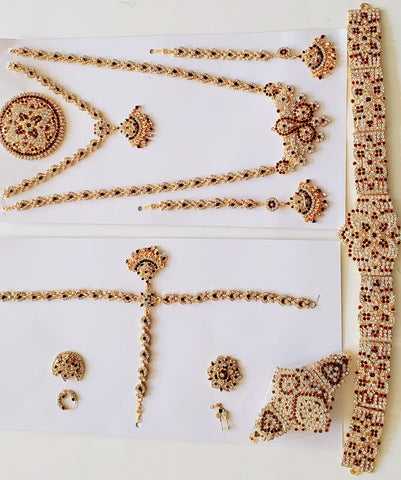 White and Maroon Stones Dance Jewelry Set for Kuchipudi Bharatanatyam STNSET821