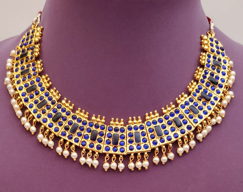 Blue Kemp Bharatanatyam Short Necklace - SN2246
