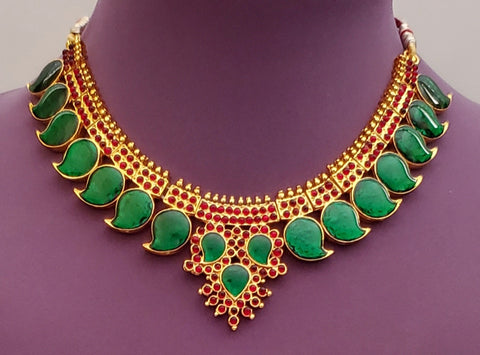 Green Enamel Palakka Kerala Short Necklace - SN2245