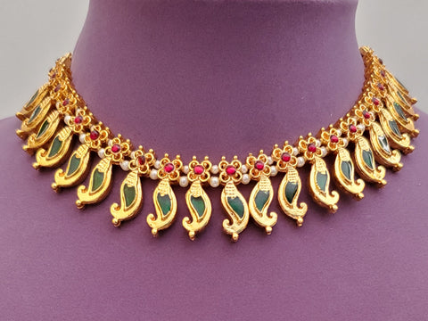 Green Enamel Palakka Kerala Short Necklace - SN2239