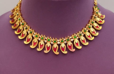 Red Enamel Palakka Kerala Short Necklace - SN2240