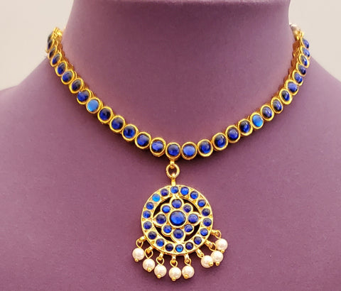 Blue Kemp Bharatanatyam Short Necklace - SN2247