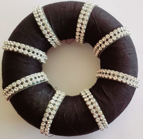 Hair Ring decorated with White Beads Lace