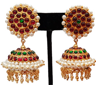 Green Kempu Pearl Jhumki Earrings - JMK2530G