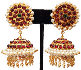 Red Kempu Pearl Jhumki Earrings - JMK2530R