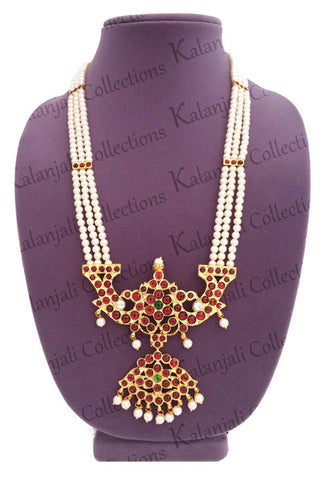 3 Line Kuchipudi Jewellery, Bharatanatyam Jewelry, temple design necklace