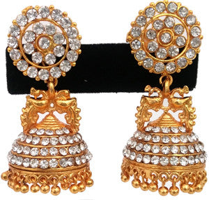 Elegant White Stones Jhumki Earrings-JMK343