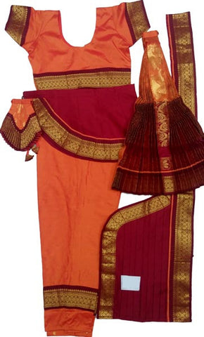 Bharatanatyam Dress Golden Orange Maroon