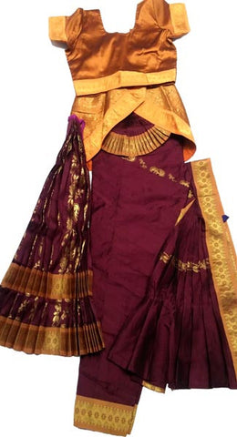 Bharatanatyam Dress Dark Coffee Mustard Yellow