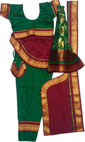 Bharatanatyam Dress Dark Green Maroon