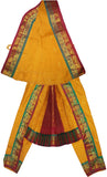 Bharatanatyam Dress Orange Multi Color Border