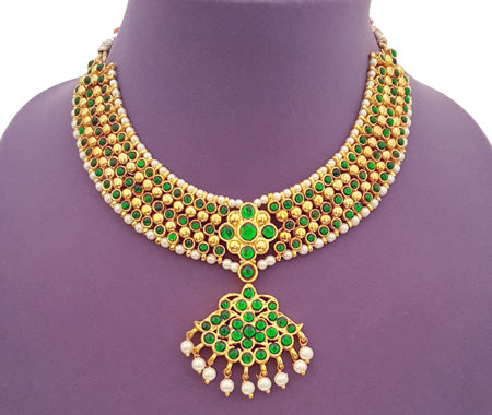 Kuchipudi Bharatanatyam Short Necklace - SN2226G