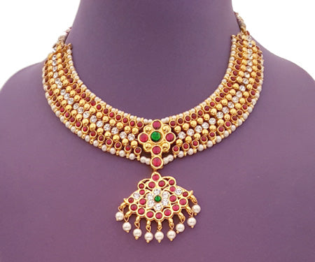 Kuchipudi Bharatanatyam Short Necklace - SN2227R