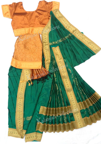 green and orange kuchipudi costume