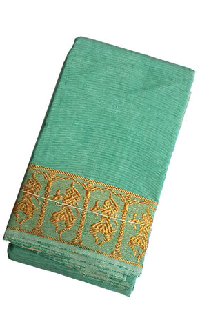 Dance Practice Saree - Light Green Gold Dancing Dolls Border