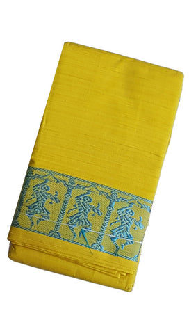 Dance Practice Saree - Lemon Yellow Sky Blue Dancing Dolls Border